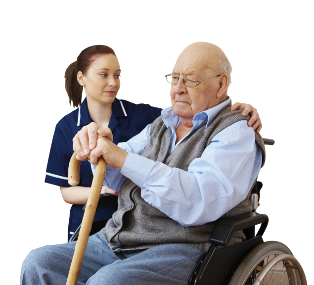 elderly with his personal nurse